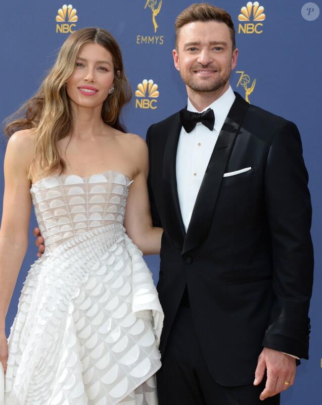 Jessica Biel et son mari Justin Timberlake au 70ème Primetime Emmy Awards au théâtre Microsoft à Los Angeles, le 17 septembre 2018.