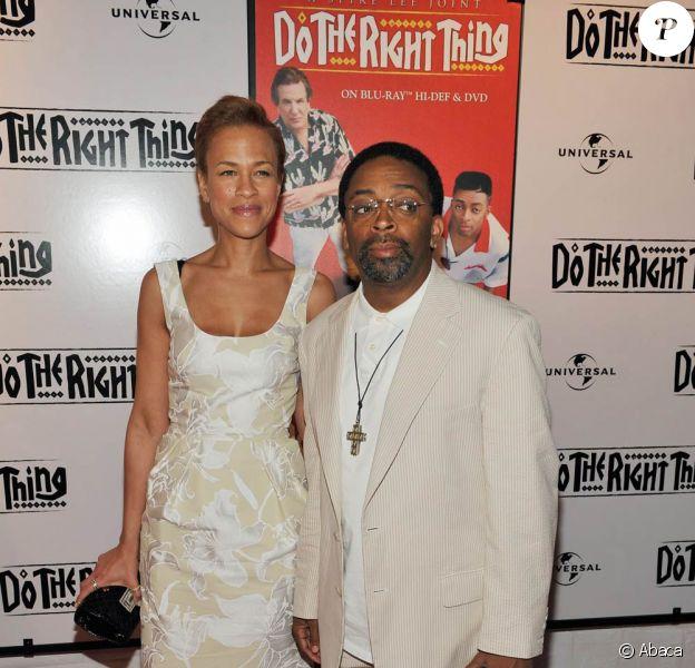"""Spike Lee et sa femme Tonya fête les 20 ans du film """" Do The Right Thing"""" au Directors Guild of America Theatre, à NYC hier"""