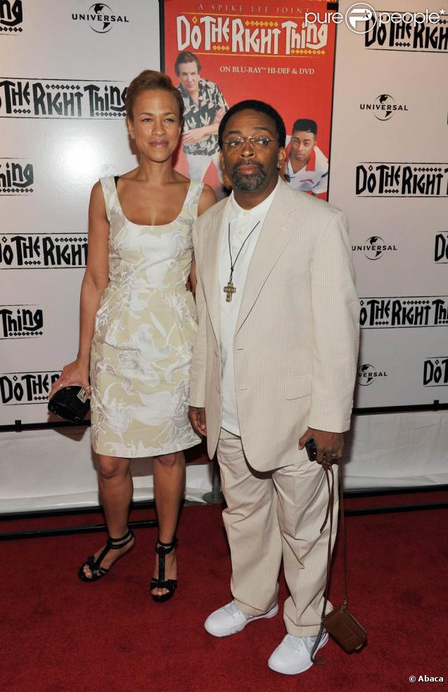 "Spike Lee et sa femme Tonya fête les 20 ans du film "" Do The Right Thing"" au Directors Guild of America Theatre, à NYC hier"