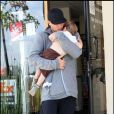 Tom Brady et son fils John à Brentwood, hier