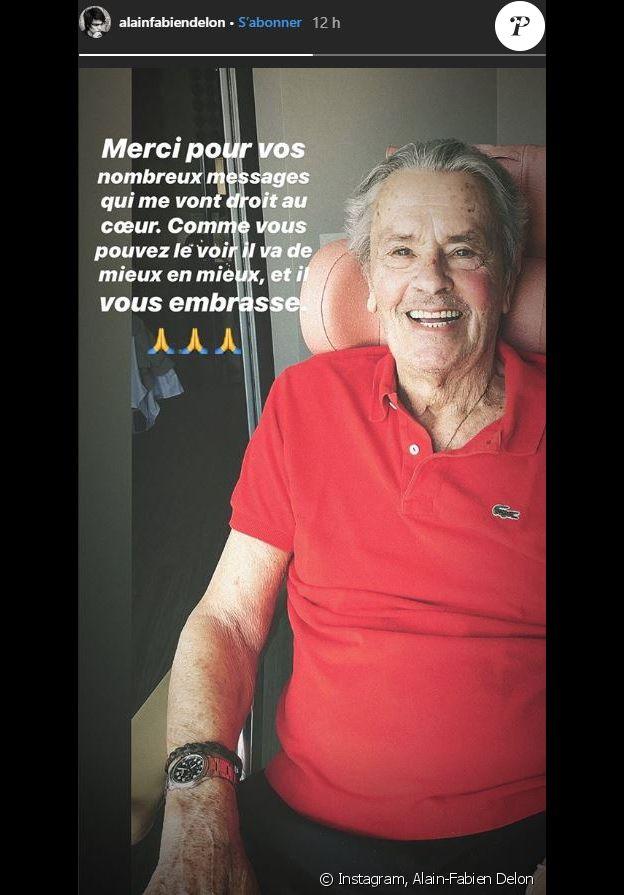 Alain-Fabien Delon donne des nouvelles rassurantes de son père, Alain Delon. Août 2019.