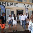 Exclusif - Franck Riester, ministre de la Culture, a visité le musée de la gendarmerie et du cinéma à l'occasion de l'exposition sur Johnny Hallyday, à Saint-Tropez, Côte d'Azur, France, le 11 août 2019. Une visite en compagnie de Gwenaëlle Van Butsele (conservatrice du musée de la gendarmerie et du cinéma de Saint-Tropez), Jean-Pierre Tuveri, maire de Saint-Tropez, sa femme Cecilia, Bernard Montiel et Séverine Berger (conservatrice du musée de l'Annonciade) © Luc Boutria/Nice Matin/Bestimage