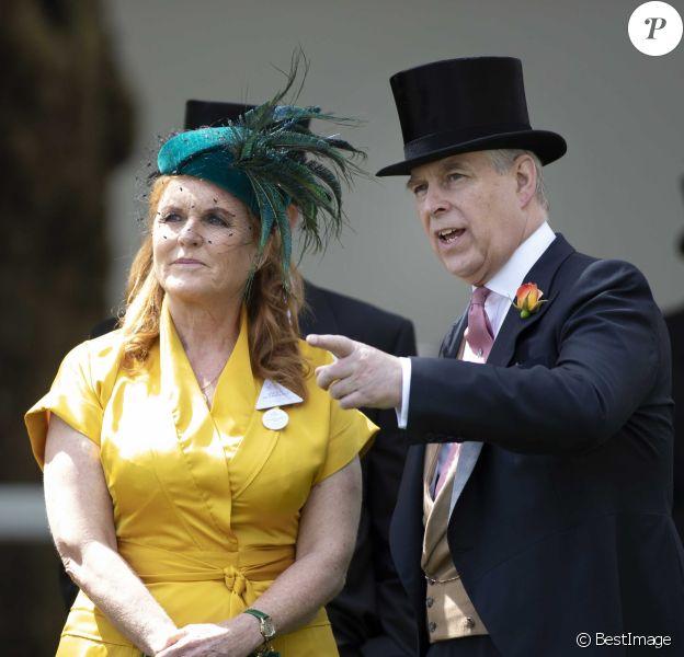 Sarah Ferguson, le prince Andrew, duc d'York - La famille royale d'Angleterre assiste aux courses de chevaux à Ascot le 21 juin 2019.