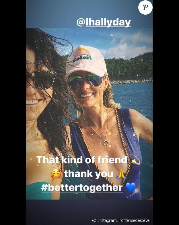 Hortense d'Estève triste de quitter Laeticia Hallyday quite à la fin de ses vacances à Saint-Barthélemy. Instagram, le 20 août 2019.
