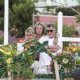 Jean-Claude Camus avec sa fille Isabelle Camus et son petit-fils Joalukas Noah - Laeticia Hallyday s'est recueillie sur la tombe de J. Hallyday avec JC Camus accompagné de sa fille et de son petit-fils au cimetière de Lorient à Saint-Barthélemy le 24 avril 2018.