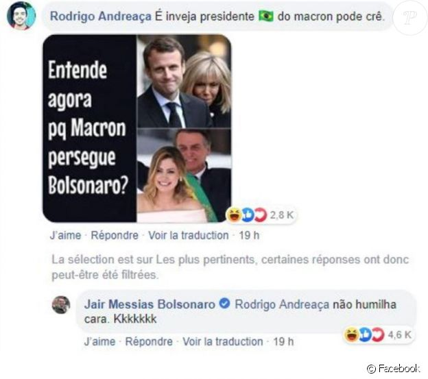 Jair Bolsonaro se moque du physique Macron sur Facebook le 25 août 2019.