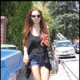 Lindsay Lohan ressortant de chez Samantha Ronson après sa fête d'anniversaire. Le 3 juillet 2009 au matin