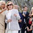 Brigitte Macron, Cecilia Morel, femme du président du Chili - La première dame Brigitte Macron et les conjoints des chefs d'état visitent la Côte des Basques à Biarritz en marge du sommet du G7 le 26 août 2019. © Stéphane Lemouton / Bestimage