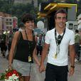 Raquel Del Rosario et son homme Fernando Alonso, le 4 juillet 2009, à Monaco pour le départ du Tour de France