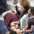 Meghan Markle, duchesse de Sussex, dans les tribunes de la finale femme du tournoi de l'US Open 2019 opposant Serena Williams à Bianca Andreescu au Billie Jean King National Tennis Center à New York, le 7 septembre 2019.
