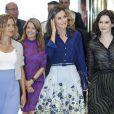 La reine Letizia d'Espagne (jupe Carolina Herrera) présidait le 5 septembre 2019 à Madrid la 3e Journée sur le traitement informatif du handicap dans les médias.