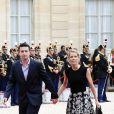 Tiphaine Auzière et son compagnon Antoine - Arrivées au palais de l'Elysée à Paris pour la cérémonie d'investiture d'Emmanuel Macron, nouveau président de la République, le 14 mai 2017. © Stéphane Lemouton/Bestimage