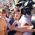 Deux jours après le verdict du procès pour fraude fiscale des époux Balkany, Isabelle Balkany est allée à la rencontre des Levalloisiens le jour du marché sur la place de la mairie à Levallois-Perret, France, le 15 septembre 2019. © Francis Petit/Bestimage