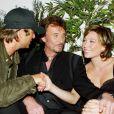 Johnny et ses enfants David Hallyday et Laura Smet en 2003.