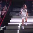 """Jenifer en robe Miu Miu lors du tournage des battles de """"The Voice Kids 2019"""" sur TF1. Le 27 septembre 2019."""