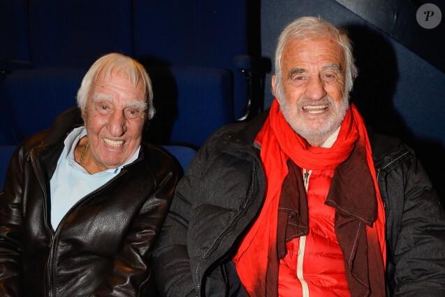 (Info - Charles Gérard est mort le 19 septembre 2019 à 96 ans) - Exclusif - Charles Gérard et Jean-Paul Belmondo au concert de Charles Aznavour au Palais des Sports à Paris, le 21 décembre 2016. © Guirec Coadic/Bestimage