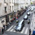 Convoi transportant le cercueil de l'ancien président français Jacques Chirac à Paris le 29 septembre 2019. Le convoi quitte son domicile rue de Tournon et arrive aux Invalides pour l'hommage populaire. La cour des Invalides est ouverte au public pour ceux qui souhaitent se recueillir. Le convoi est salué par les applaudissements de la foule.