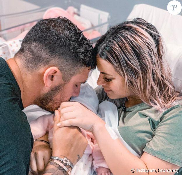 Kevin Guedj avec sa compagne Carla et leur fille Ruby le jour de l'accouchement, le 1er octobre 2019, sur Instagram
