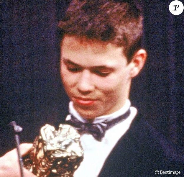 """Archives - L'acteur Gerald Thomassin, César du Meilleur Espoir Masculin en 1991 pour le film """"Le petit criminel"""" de Jacques Doillon. Paris, le 9 mars 1991."""