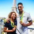 Estelle Mossely et son compagnon Tony Yoka - Conférence de presse et photocall avec les athlètes français de retour des Jeux Olympiques de Rio à l'hôtel Pullman face a la Tour Eiffel à Paris le 23 août 2016.