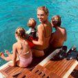 Sylvie Tellier avec ses trois enfants en vacances dans le sud de la France (Août 2019).