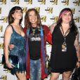 Steven Tyler fait son arrivée avec sa compagne Erin et sa fille Mia à l'after party du concert d'Aerosmith au MGM Grand, le 26 juillet 2009