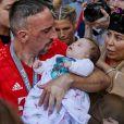 Franck Ribéry et sa fille Keltoum et sa femme Wahiba - Franck Ribéry célèbre le titre de champion d'Allemagne et son dernier match sous les couleurs du Bayern de Munich le 18 Mai 2019.
