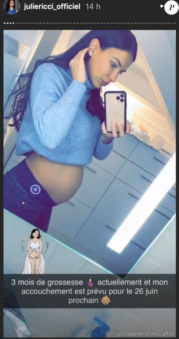Julie Ricci révèle la date de son accouchement - Instagram Story, 25 décembre 2019