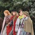Exclusif - Emma Watson, Florence Pugh, Saoirse Ronan et Eliza Scanlen sur le tournage du film Little Women (Quatre Filles du Docteur March) dans les rues de Haward. Le 5 novembre 2018.