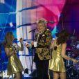 Sir Rod Stewart en concert lors de sa tournée Blood Red Roses tour au O2 Arena à Londres, le 17 décembre 2019.