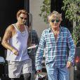 Exclusif - Rod Stewart et son fils Sean Stewart sont allés faire du shopping chez XIV Karats à Beverly Hills, le 30 août 2018