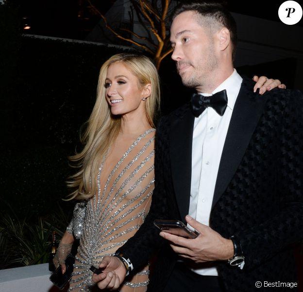 Paris Hilton à la sortie de la 77e cérémonie annuelle des Golden Globe Awards à l'hôtel Beverly Hilton à Los Angeles, Californie, Etats-Unis, le 5 janvier 2020.