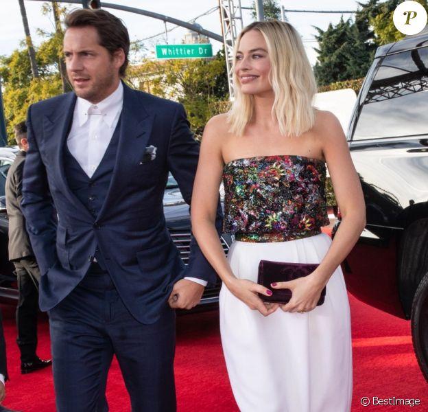 Margot Robbie et son mari Tom Ackerley - Photocall de la 77ème cérémonie annuelle des Golden Globe Awards au Beverly Hilton Hotel à Los Angeles, le 5 janvier 2020.