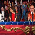 Pauline Ducruet, la princesse Stéphanie de Monaco et le prince Albert II de Monaco durant la soirée d'ouverture du 44eme Festival International du Cirque de Monte-Carlo à Monaco le 16 janvier 2020. Le Festival se déroule sous le chapiteau de Fontvieille du 16 au 26 janvier 2020. © Bruno Bebert/Bestimage