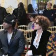 Fanny Ardant et Aïssa Maïga assistent au défilé Imane Ayissi, saison Haute Couture printemps-été 2020, à l'hôtel La Marois. Paris, le 23 janvier 2020.