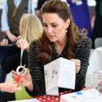 Catherine Kate Middleton, duchesse de Cambridge, visite un atelier du programme hospitalier de la National Portrait Gallery à l'hôpital pour enfants Evelina à Londres le 28 janvier 2020.