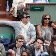 Stéphane Plaza, Karine Le Marchand et sa fille Alya aux Internationaux de France de tennis de Roland Garros à Paris, le 29 mai 2014.