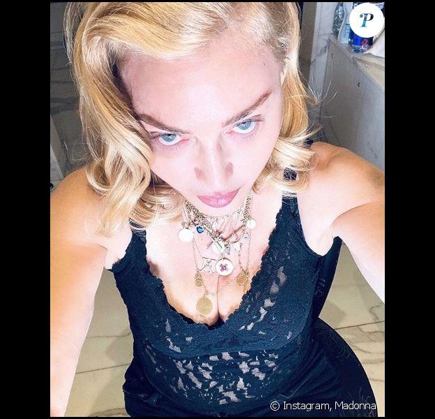 Madonna sur Instagram avant de monter sur la scène du Palladium Theatre de Londres. Le 6 février 2020.