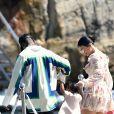 Travis Scott, Kylie Jenner, Stormi Webster - Le clan Jenner arrive à l'Hôtel du Cap-Eden-Roc pour un déjeuner en famille au Cap d'Antibes le 14 août 2019.