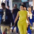 Exclusif - Kylie Jenner et son compagnon Travis Scott passent une soirée en amoureux à Portofino le 12 août 2019. Ils ont laissé toute la famille pour une soirée à deux. Sans Stormi et sans la famille qui est présente à Portofino. Kylie porte un ensemble jeune qu'elle a assorti avec un sac shopping Christian Dior.