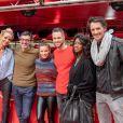 Elodie Gossuin et Albert Spano, Christian Millette et Denitsa Ikonomova, Hapsatou Sy et Vincent Cerutti- Record du monde du plus grand Italian Kiss, le plus grand nombre de couples mangeant le même spaghetti, au restaurant Vapiano de La Défense, à Paris, le 14 février 2020, pour la Saint-Valentin.