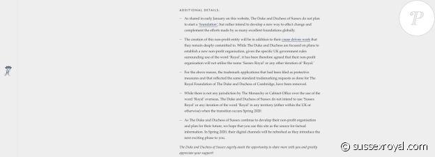 """Les détails du """"Megxit"""" publiés sur le site officiel du prince Harry et Meghan Markle, le 21 février 2020."""