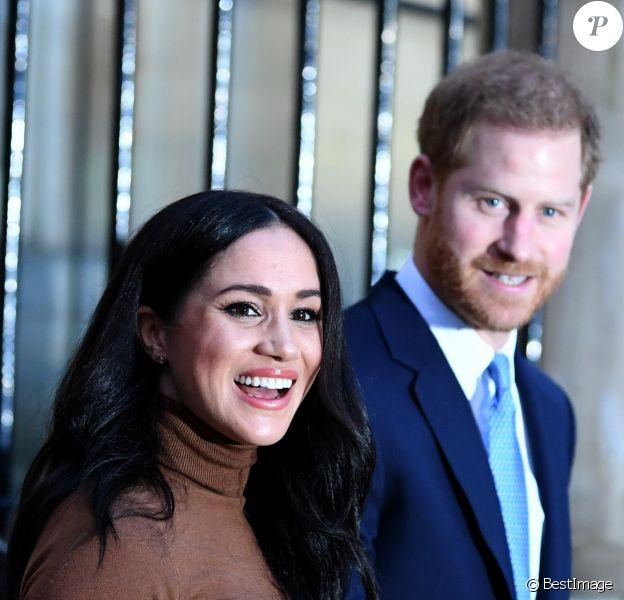 Le prince Harry, duc de Sussex, et Meghan Markle, duchesse de Sussex, en visite à la Canada House à Londres le 7 janvier 2020.