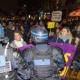 Manifestation contre la nomination de Roman Polanski avant la 45ème cérémonie des César à Paris, le 28 février 2020. © Pierre Perusseau / Bestimage