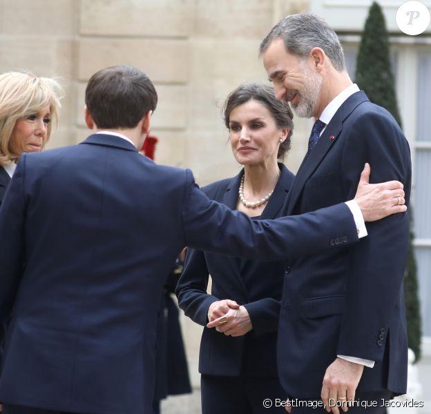 Le président Emmanuel Macron et la première dame Brigitte Macron ont reçu le roi Felipe VI d'Espagne et la reine Letizia à déjeuner au palais de l'Elysée, à Paris, le 11 mars 2020, avant la cérémonie de la Journée nationale d'hommage aux victimes du terrorisme organisée au Trocadéro. © Dominique Jacovides / Bestimage