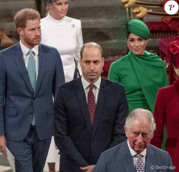 Le prince Edward, comte de Wessex, Sophie Rhys-Jones, comtesse de Wessex, Le prince William, duc de Cambridge, et Catherine (Kate) Middleton, duchesse de Cambridge, Le prince Charles, prince de Galles, et Camilla Parker Bowles, duchesse de Cornouailles, Le prince Harry, duc de Sussex, Meghan Markle, duchesse de Sussex - La famille royale d'Angleterre lors de la cérémonie du Commonwealth en l'abbaye de Westminster à Londres le 9 mars 2020.