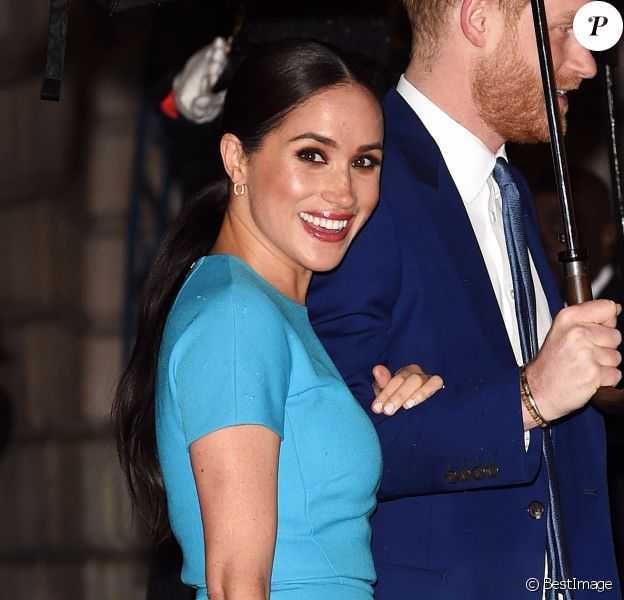 Le prince Harry, duc de Sussex, et Meghan Markle, duchesse de Sussex arrivent à la cérémonie des Endeavour Fund Awards au Mansion House à Londres, Royaume Uni, le 5 mars 2020.