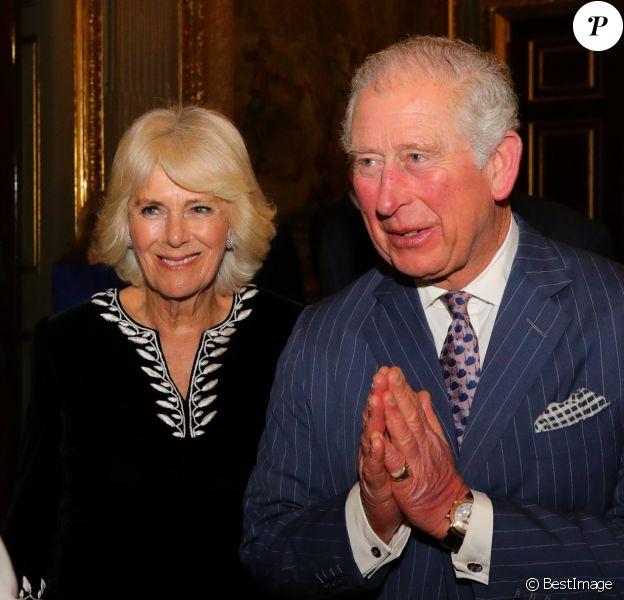 Le prince Charles, prince de Galles, et Camilla Parker Bowles, duchesse de Cornouailles, assistent à la réception organisée pour la Journée du Commonwealth à Marlborough House à Londres, le 9 mars 2020.