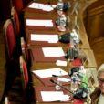 Isabelle Balkany, maire par intérim pendant la détention de son mari, préside le dernier conseil municipal de la commune de Levallois Perret avant les élections de mars 2020, à la mairie de Levallois-Perret, France, le 13 février 2020. © Dominique Jacovides/Bestimage