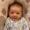 Osian, la troisième fille de Milla Jovovich et Paul W. S. Anderson. Avril 2020.